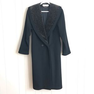 VTG Andrea Wool Velvet Paisley Collar Winter Coat